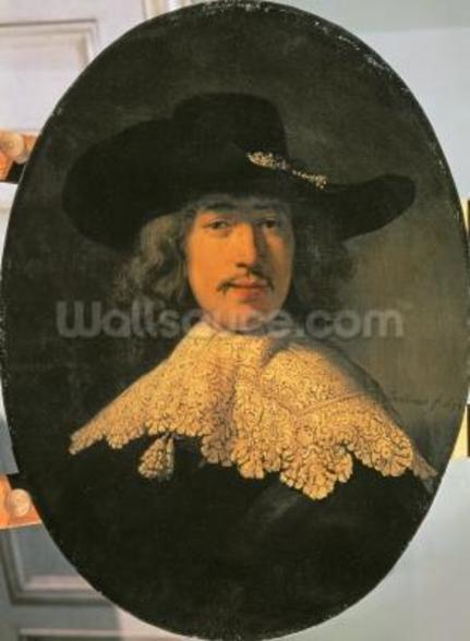 Portrait of a Young Man with a Lace Collar, 1634 (oil on canvas) wall mural