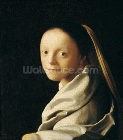 Portrait of a Young Woman, c.1663-65 (oil on canvas) wall mural