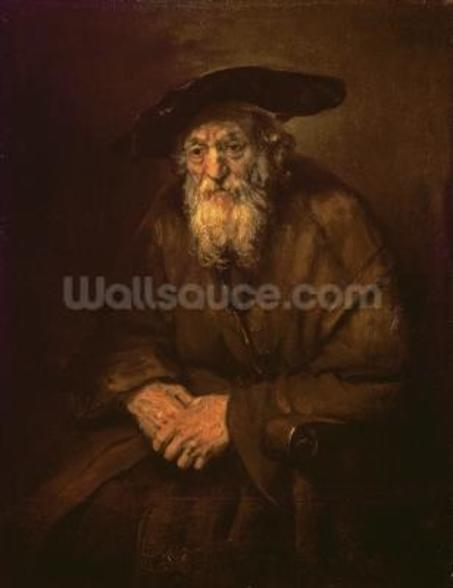 Portrait of an Old Jew (oil on canvas) mural wallpaper