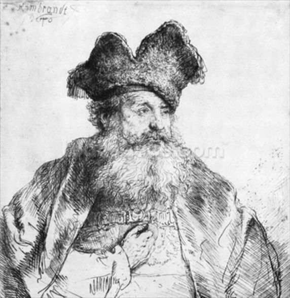 Portrait of an old man (etching) (b/w photo) wall mural