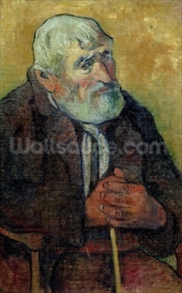 Portrait of an Old Man with a Stick, 1889-90 (oil on canvas) wallpaper mural
