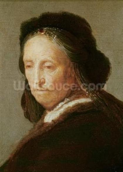 Portrait of an old Woman, c.1600-1700 (oil on panel) wall mural