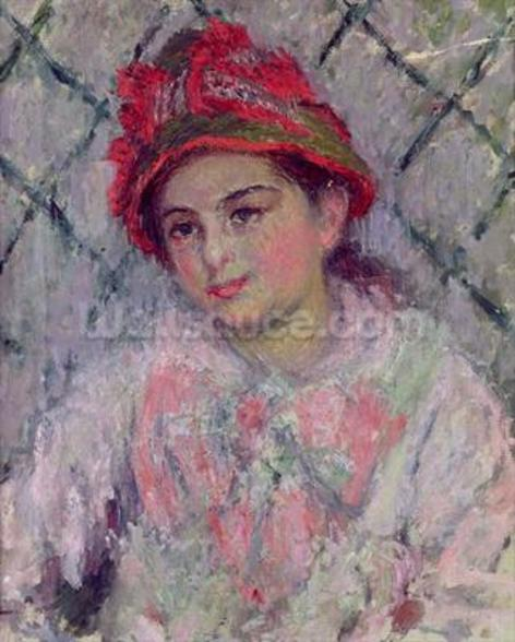 Portrait of Blanche Hoschede (1864-1947) as a Young Girl, c.1880 (oil on canvas) wallpaper mural
