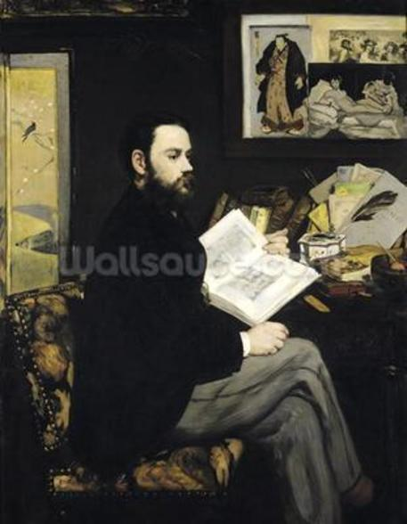 Portrait of Emile Zola (1840-1902) 1868 (oil on canvas) wallpaper mural