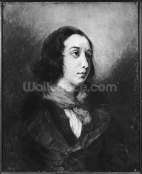 Portrait of George Sand, 1838 (oil on canvas) (b/w photo) wallpaper mural