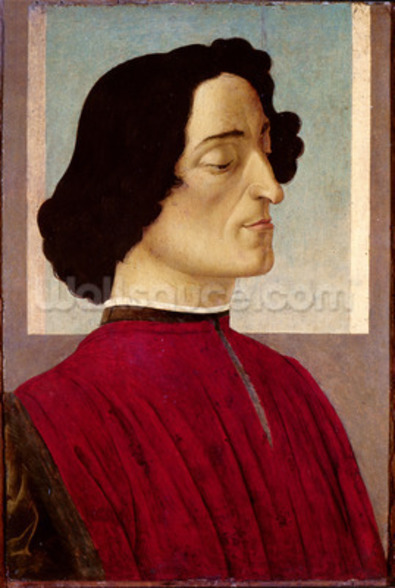 Portrait of Giuliano de Medici (1478-1534) c.1480 (tempera on panel) wall mural