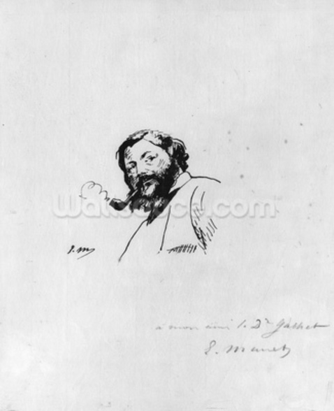 Portrait of Gustave Courbet (pen & ink on paper) (b/w photo) wallpaper mural