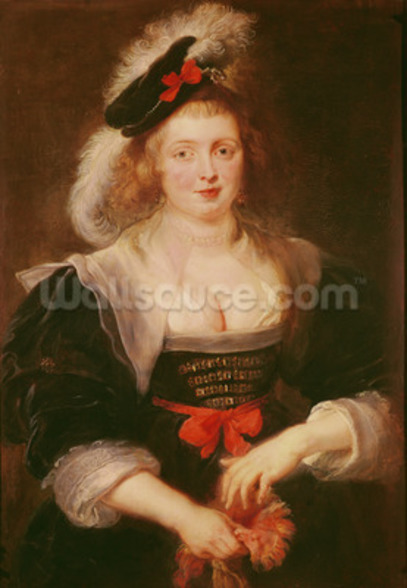 Portrait of Helene Fourment with gloves, c.1632 (oil on panel) mural wallpaper