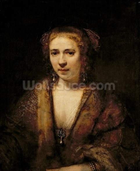 Portrait of Hendrikje Stoffels (1625-63) (oil on canvas) wall mural
