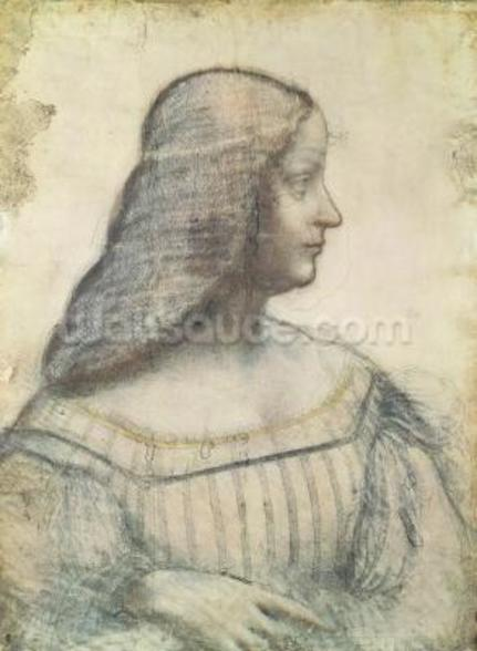 Portrait of Isabella dEste (1474-1539) (red chalk & pierre noire on paper) wall mural