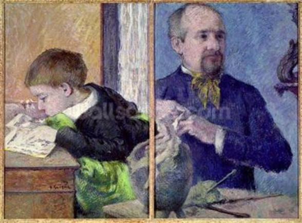 Portrait of Jean Paul Aube (1837-1916) and his son (pastel) wall mural