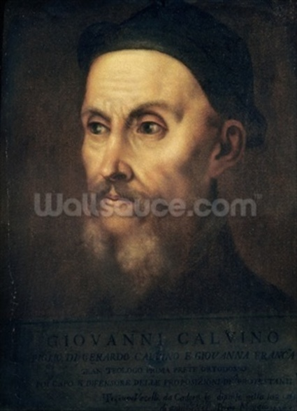 Portrait of John Calvin (1509-64) (oil on canvas) wall mural