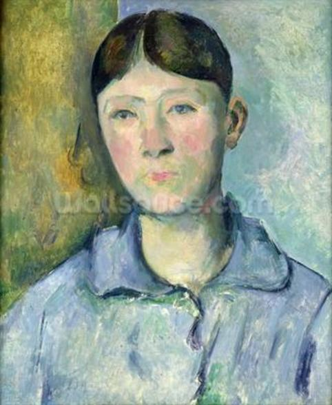 Portrait of Madame Cezanne, 1885-90 (oil on canvas) wall mural