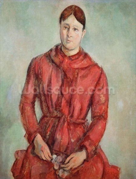 Portrait of Madame Cezanne in a Red Dress, c.1890 (oil on canvas) wall mural