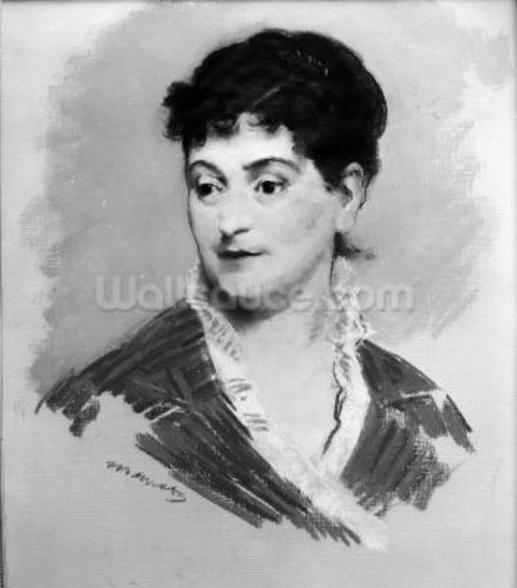 Portrait of Madame Emile Zola, 1874 (pastel on canvas) (b/w photo) wall mural