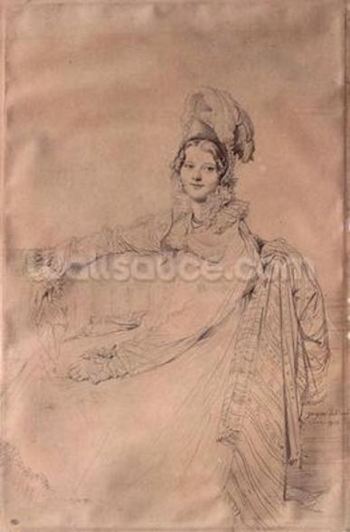 Portrait of Madame Louis-Nicolas-Marie Destouches (1787-1831) 1816 (pencil on paper) wall mural