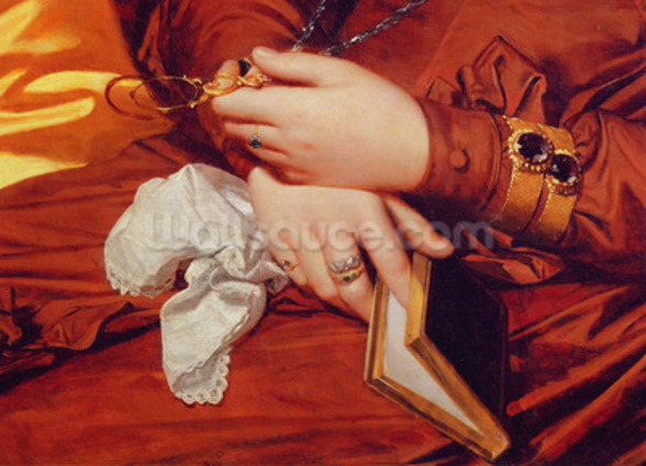 Portrait of Madame Marcotte, detail of her hands, 1826 (oil on canvas) (detail of 83538) wall mural