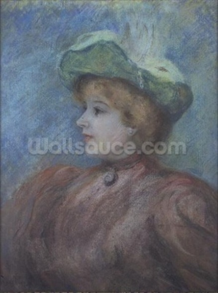 Portrait of Mademoiselle Dieterle (pastel on paper) wall mural