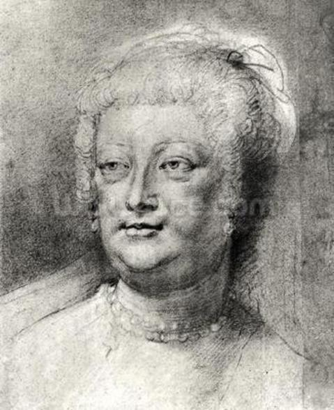 Portrait of Marie de Medici (1573-1642), 1622 ? (pierre noire and red chalk with white highlight) wall mural