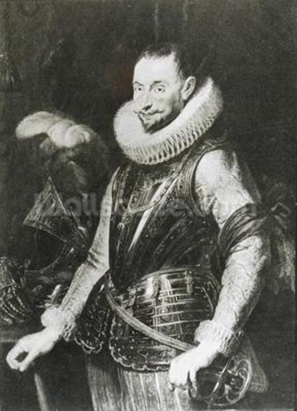 Portrait of Marquis Ambrogio Spinola (1569-1630) (oil on panel) (b/w photo) wallpaper mural