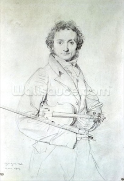 Portrait of Niccolo Paganini (1782-1840) 1819 (pencil on paper) wall mural