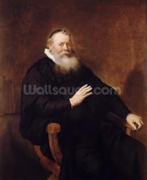 Portrait of Pastor Eleazer Swalmius, 1637-42 (oil on canvas) mural wallpaper
