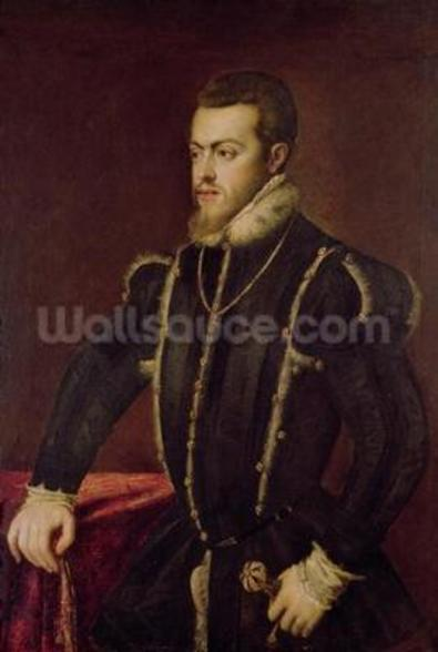 Portrait of Philip II (1527-98) of Spain (oil on canvas) wall mural
