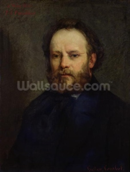 Portrait of Pierre Joseph Proudhon (1809-65) 1865 (oil on canvas) wallpaper mural