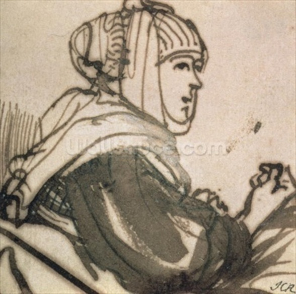 Portrait of Saskia, 1634 (ink and wash on paper) mural wallpaper