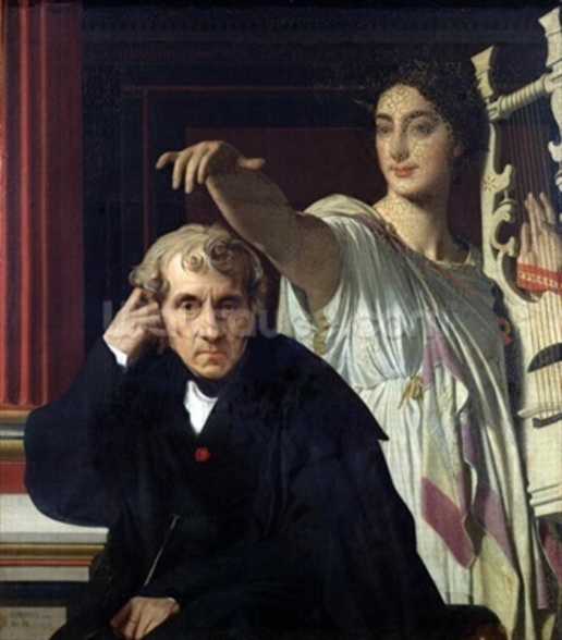 Portrait of the Italian Composer Cherubini (1760-1842) and the Muse of Lyrical Poetry, 1842 (oil on canvas) wall mural