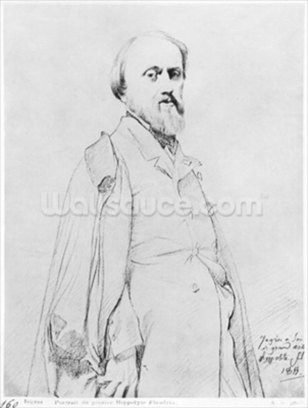 Portrait of the painter Hippolyte Flandrin, 1844 (graphite on paper) (b/w photo) mural wallpaper