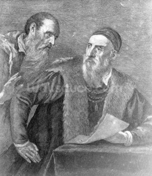 Portrait of Titian painted by himself with his friend Don Francesco del Mosaico (etching) wall mural
