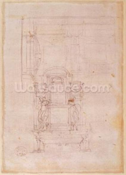 Preparatory drawing for the tomb of Pope Julius II (1453-1513) (charcoal on paper) (verso) wall mural