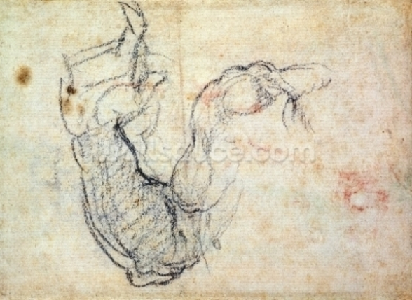 Preparatory Study for the Arm of Christ in the Last Judgement, 1535-41 (black chalk on paper) (recto) wall mural