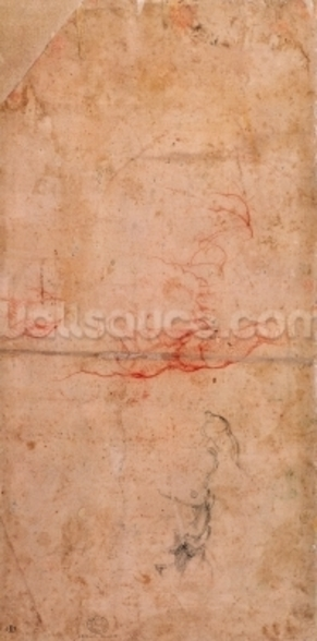 Preparatory Study for the Punishment of Haman (red chalk & charcoal on paper) (verso) mural wallpaper