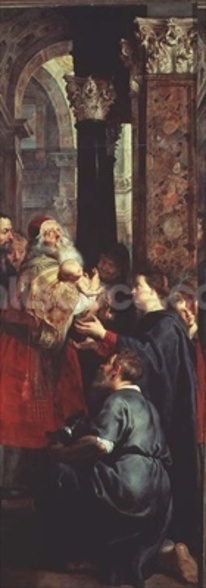 Presentation in the Temple, right panel from the Descent from the Cross triptych, 1611-14 (oil on panel) mural wallpaper