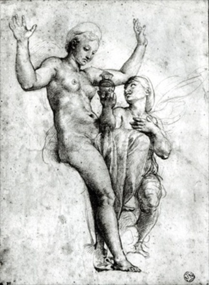 Psyche presenting Venus with water from the Styx, 1517 (red chalk on paper) (b/w photo) wallpaper mural