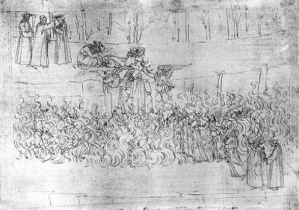 Purgatory, from The Divine Comedy by Dante Alighieri (1265-1321) c.1480 (pen & ink on paper) wall mural