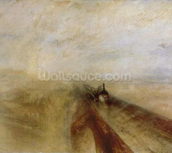 Rain Steam and Speed, The Great Western Railway, painted before 1844 (oil on canvas) (detail of 4053) wall mural
