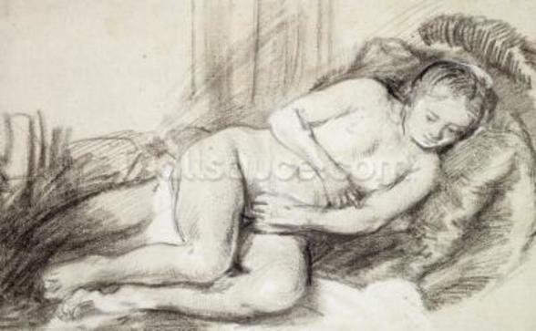 Reclining Female Nude (black chalk and bodycolour on paper) wall mural