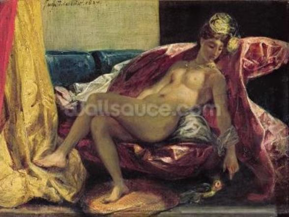 Reclining Odalisque or, Woman with a Parakeet, 1827 (oil on canvas) wallpaper mural