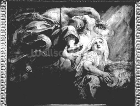 Religion Crowned by Genius, study for The Apotheosis of James I, c.1629-34 (drawing) (b/w photo) wallpaper mural