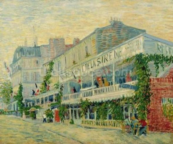 Restaurant de la Sirene at Asnieres, 1887 (oil on canvas) wallpaper mural