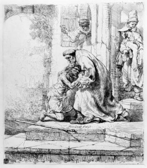 Return of the Prodigal Son, 1636 (etching) wall mural
