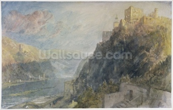Rheinfels looking to Katz and Gourhausen, 1817 (w/c & gouache on paper) wallpaper mural