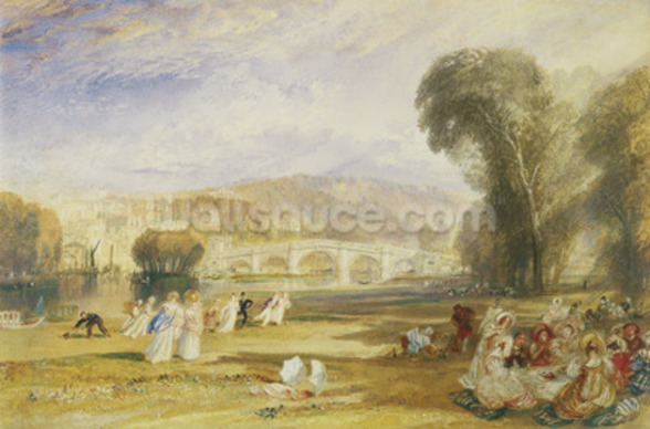 Richmond Hill and Bridge, Surrey, c.1831 (w/c on paper) wall mural