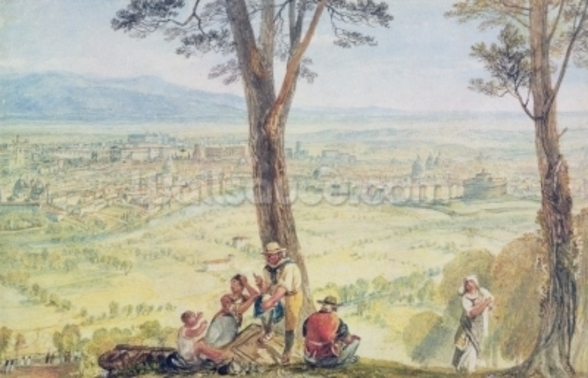 Rome from Monte Mario, c.1818 (w/c over pencil on paper) mural wallpaper