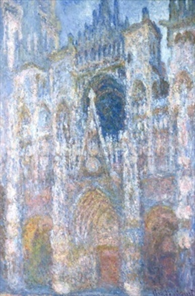 Rouen Cathedral, Blue Harmony, Morning Sunlight, 1894 (oil on canvas) wallpaper mural