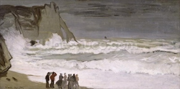 Rough Sea at Etretat, 1868-69 (oil on canvas) wallpaper mural