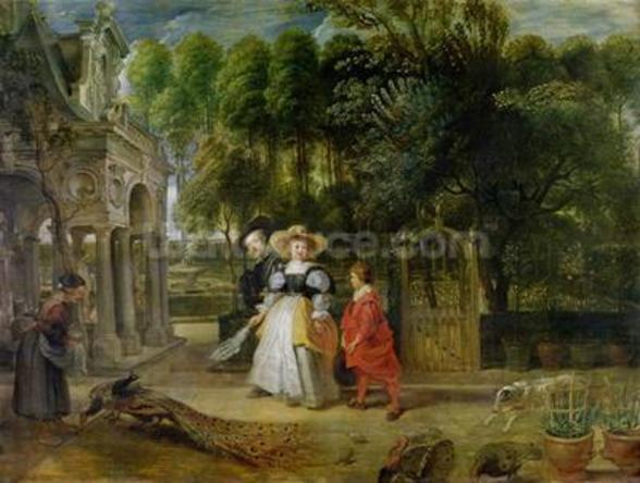 Rubens and Helene Fourment (1614-73) in the Garden (oil on panel) wall mural